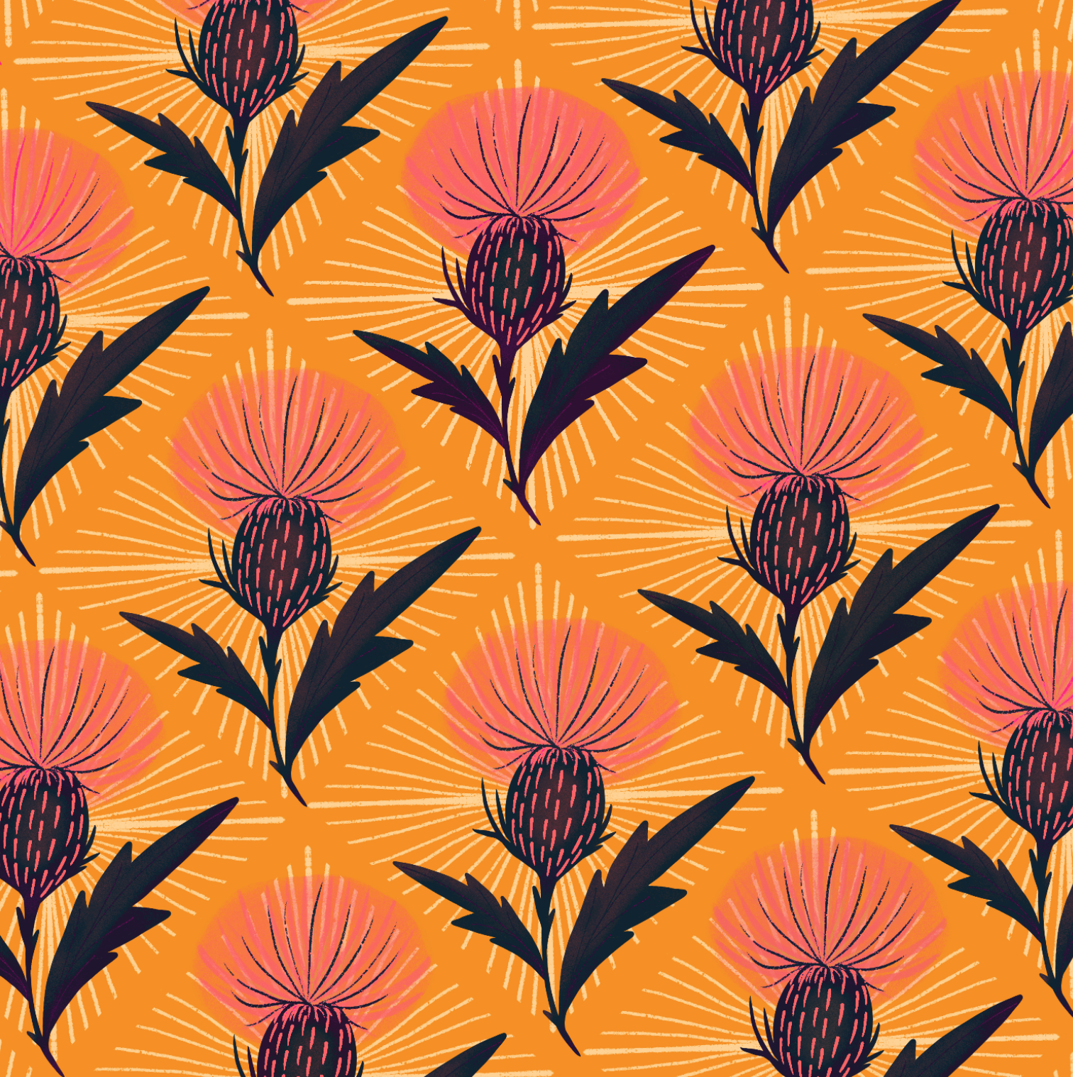pink bull thistles on a yellow background with a diamond patterned background